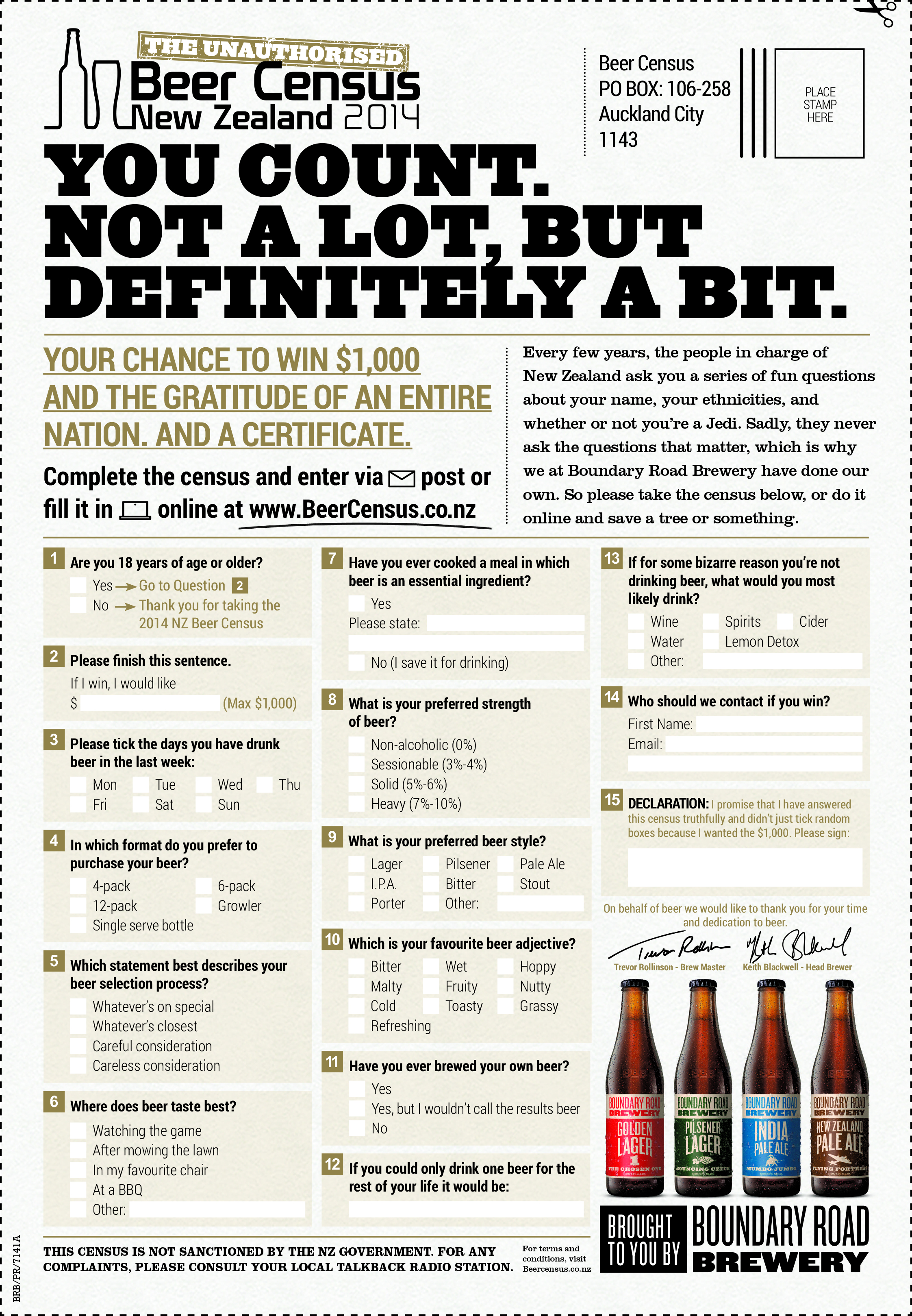 Print ad: Boundary Road Brewery: Beer Census